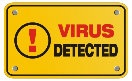 virus detected yellow sign - rectangle sign Stock Vector - 22466392