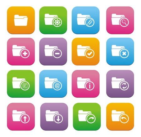 internet buttons: folder flat style icon sets