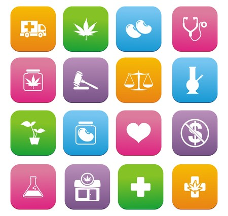 yelp: medical marijuana icons - flat style icons