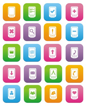 smart phone icons - flat style icons Vector