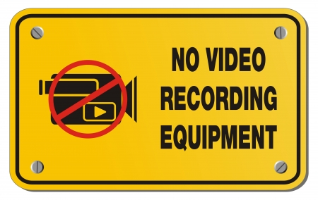 inhibit: no video recording equipment yellow sign - rectangle sign Illustration