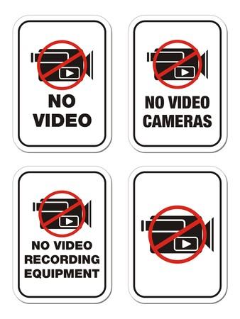 exclusion: no video cameras signs