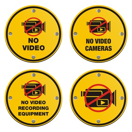 forbidden pictogram: no video recording eqipment signs - cyrcle sign