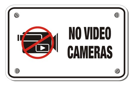 exclusion: no video cameras rectangle sign Illustration