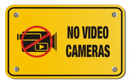 exclusion: no video cameras yellow sign - rectangle sign