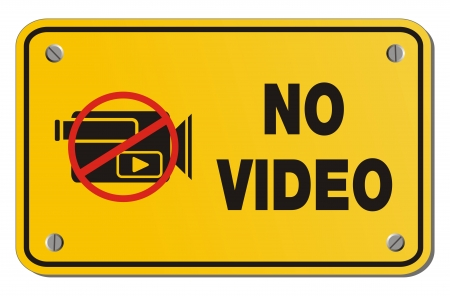 no video yellow sign - rectangle sign Vector