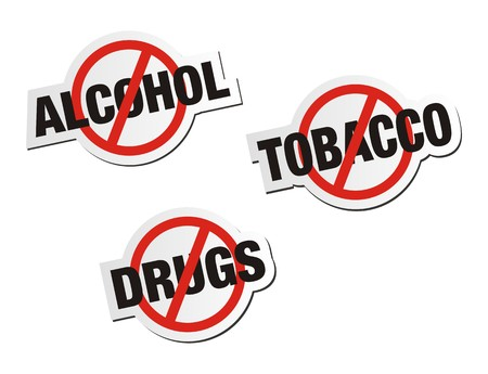 against: anti alcohol, anti tobacco, anti drugs sticker signs