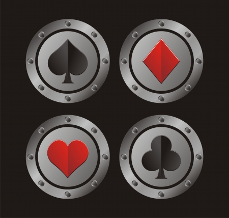 ace of clubs: clubs, hearts, spades, diamonds with circle medal
