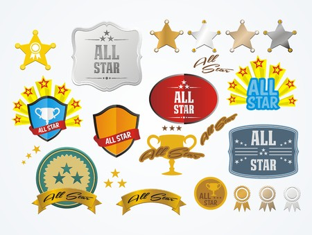 all star decoration kit Vector