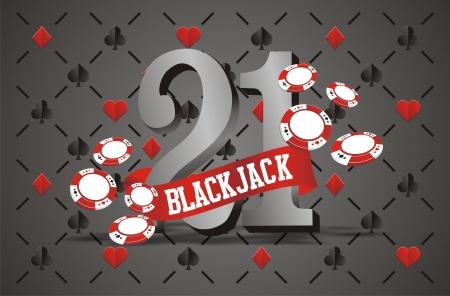 トランプのカードの背景を持つブラック ジャック バナー