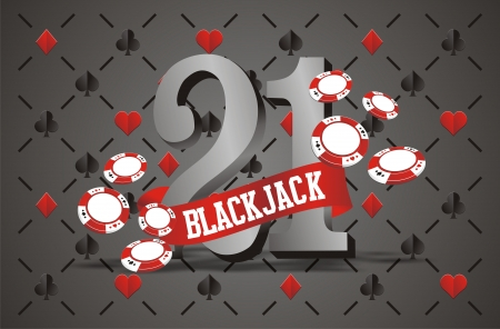 blackjack banner with playing card background