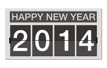 flipper: heureuse nouvelle ann�e 2014 - flipper horloge Illustration