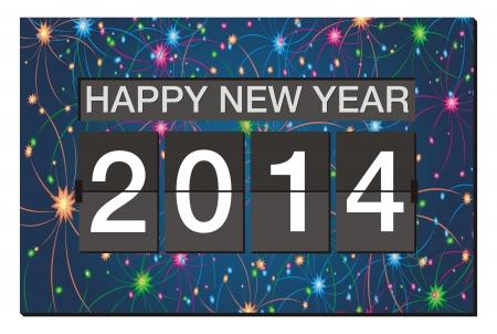 新年あけましておめでとうございます 2014 - フリッパー時計花火の背景を持つ