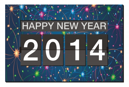 happy new year 2014 - flipper clock with fireworks background