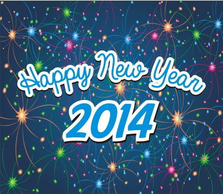 happy new year 2014 with firework background Vector