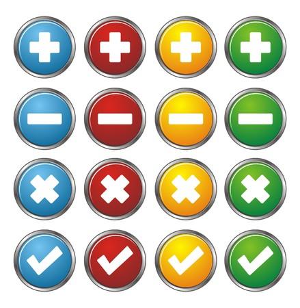 plus, minus, check, cross circle buttons