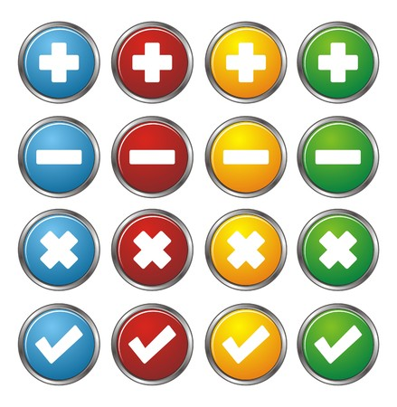 accept icon: plus, minus, check, cross circle buttons