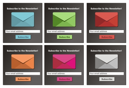 subscribe to the newsletter form - black background Vector