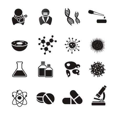 pharmacology: biotechnology icon sets Illustration