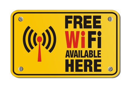 here: free wifi available here - rectangle yellow sign Illustration