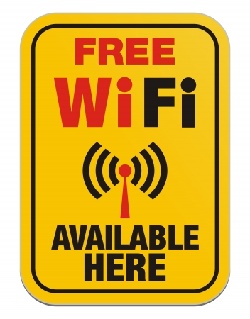 boardcast: free wi-fi available here - yellow sign