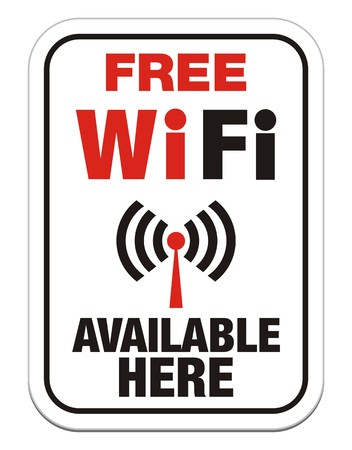 boardcast: free wi-fi available here sign