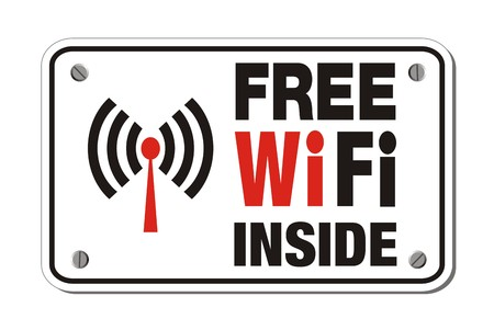 wi fi icon: free wifi inside - rectangle sign