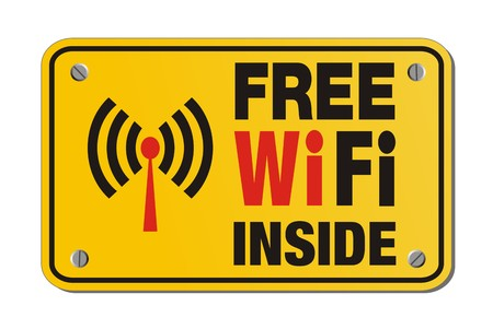 boardcast: free wifi inside - rectangle yellow sign