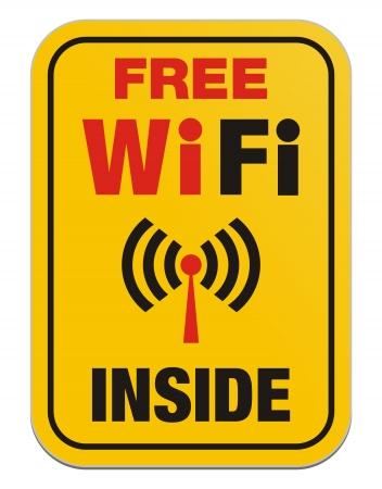 boardcast: free wi-fi inside - yellow sign