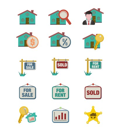 real estate icon sets - flat style icon sets Vector
