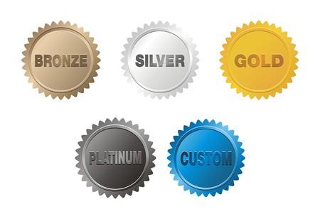 ブロンズ、シルバー、ゴールド、プラチナのバッジ  イラスト・ベクター素材