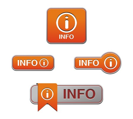 rectangulo: botón de información de naranja