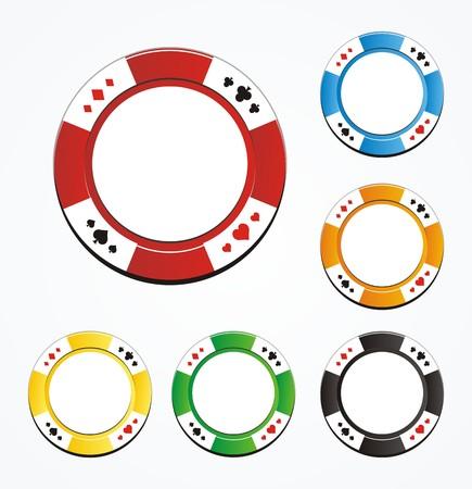 poker chip vector sets