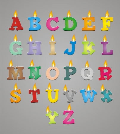 fire font: set of colorful alphabet candle Illustration