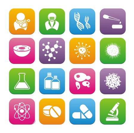 biotechnology flat style icon sets Stock Vector - 23119739