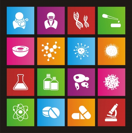 biotechnology metro style icon sets Vector