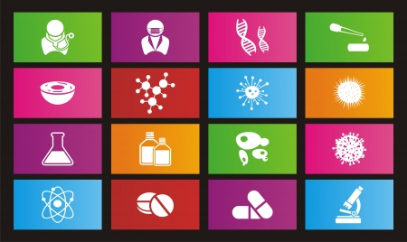 biotechnology metro style icon sets - rectangle icon sets Vector