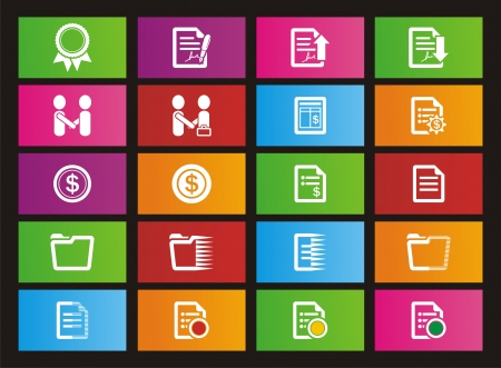business rectangle metro style icon sets Vector