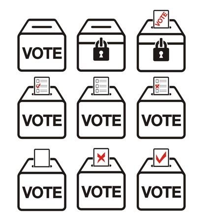 Icônes des élections - icônes des urnes Banque d'images - 23649044