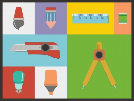 stationery flat icon sets Vector