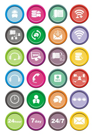 outbound: call center round icon sets Illustration