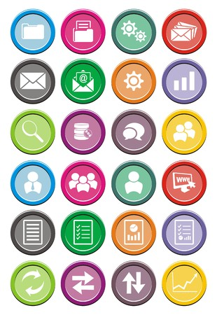 edit icon: back office round icon sets Illustration
