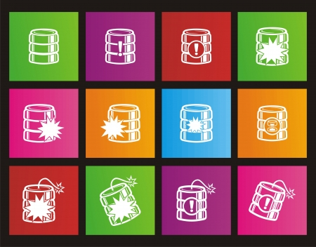 database crash square metro style icon sets Vector