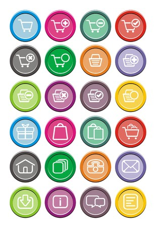 ecommerce icons: ecommerce icons - round icons Illustration