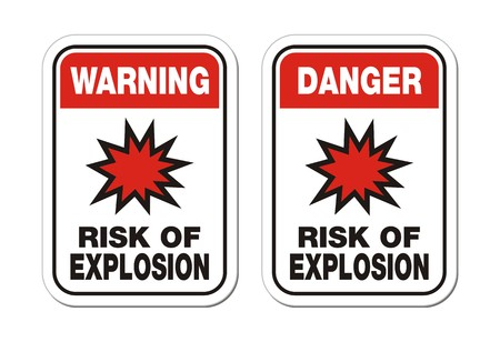 explosion risk: warning and danger risk of explosion sign Illustration