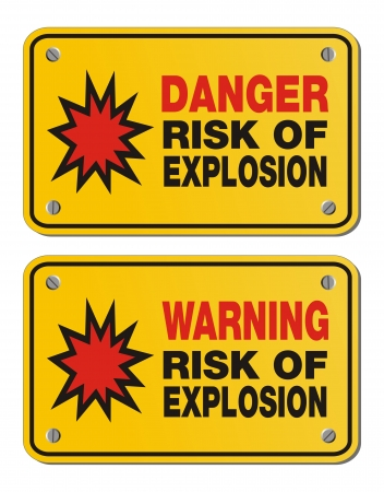 risk of explosion - rectangle yellow signs Vector