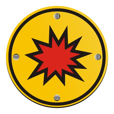 explosion risk - round yellow sign Illustration