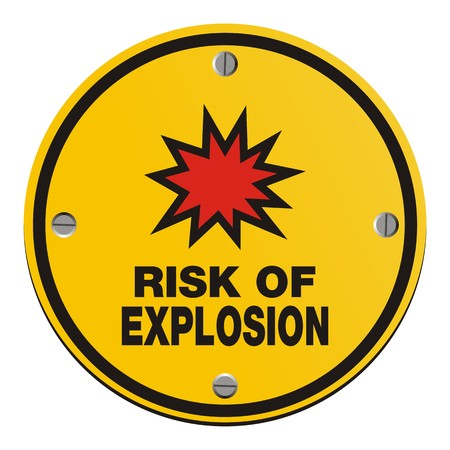 explosion risk: risk of explosion - round yellow sign Illustration