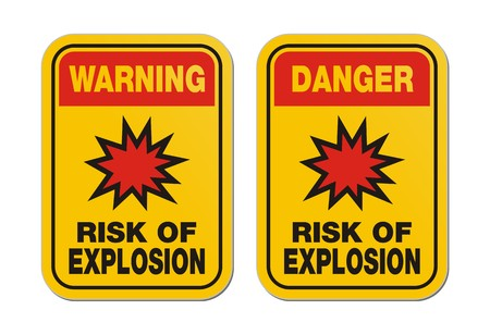 warning and danger risk of explosion yellow sign Stock Vector - 24062127