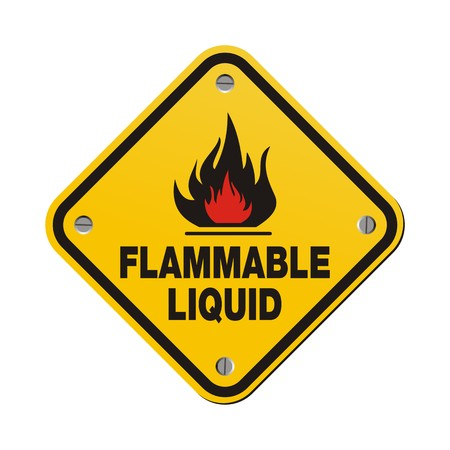 yellow sign - flammable liquid